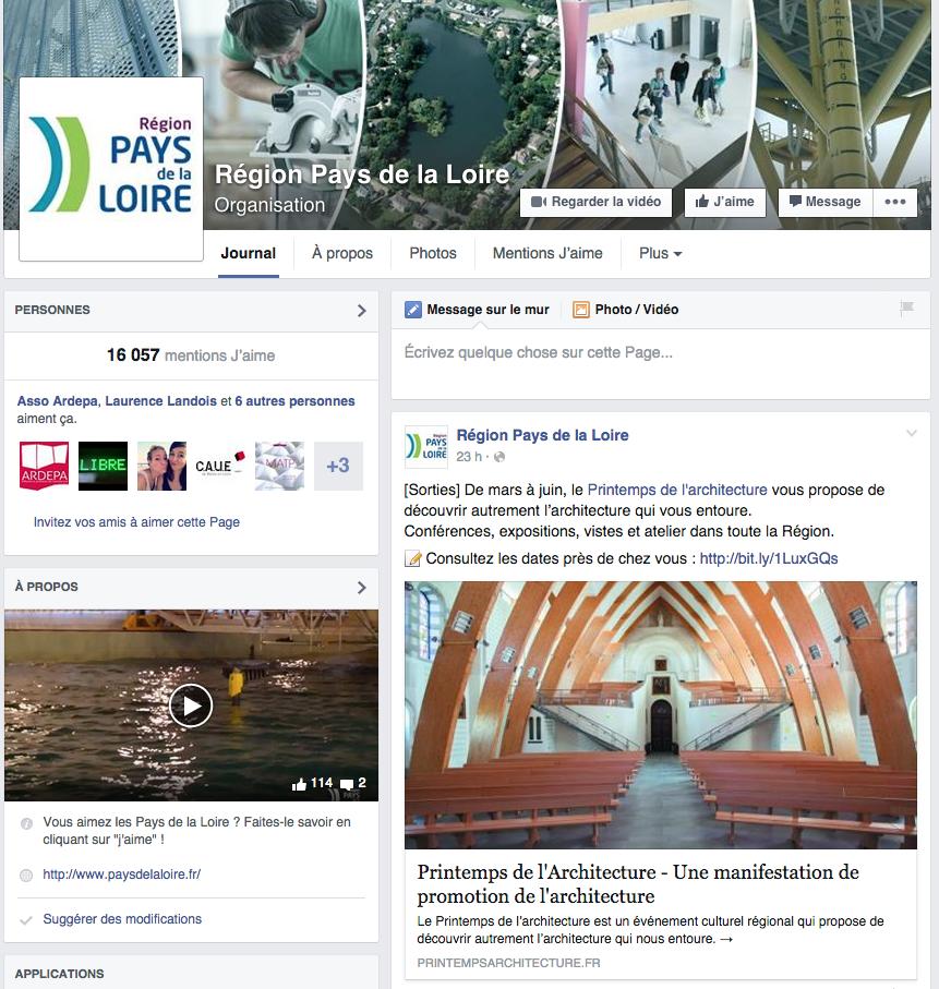 Région pays de la loire : page Facebook